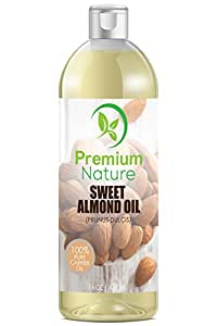 Sweet Almond Oil Natural Carrier Oil - 16 oz Cleansing Health Benefits Evens Skin Tone Treats Irritated Skin Unrefined Cold Pressed Use Before Make Up Healthy Nails Grow Facial Hair Premium Nature