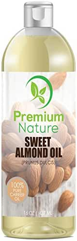 Sweet Almond Oil Natural Carrier Oil - 16 oz Cleansing Health Benefits Massage Oil Treats Irritated Skin Unrefined Cold Pressed Use Before Make Up Healthy Nails Grow Facial Hair Premium Nature