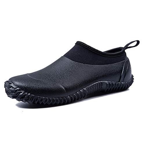 (JACKSHIBO Rain Boots Shoes, Women Men Garden Shoes Waterproof Low Ankle Car Wash Shoes, Black 46)