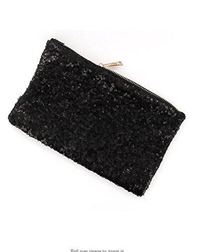 FULLA2116lusso sera party scintillante di paillettes pochette borsa (nero)