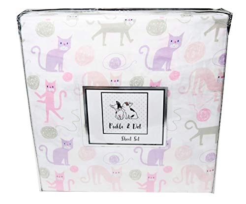 Kids Playful Kitty Cats with Balls of Yarn Sheet Set in Pink and Purple (Twin)
