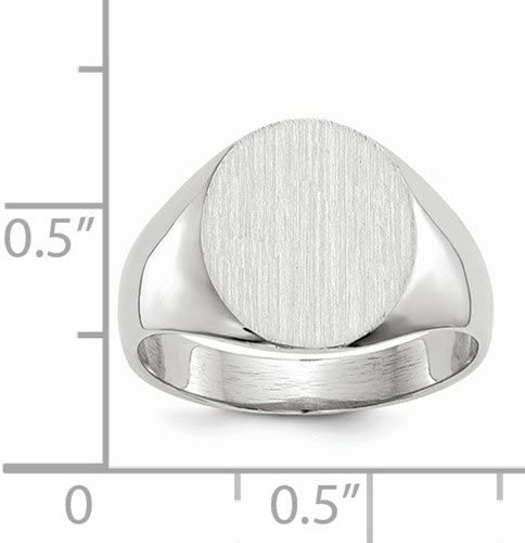 Roy Rose Jewelry 14K White Gold Solid Closed Back Signet Ring Round Shape Custom Personailzed with Free Engraving Available Initial