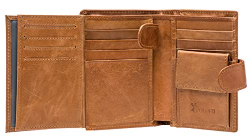 Large RFID Genuine Leather Card Holder Trifold Wallet Snap Closure 3 ID Windows for men (Brown)