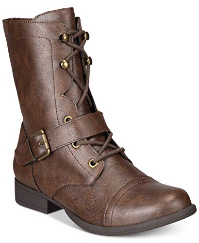 Price comparison product image American Rag Womens Farahh Round Toe Ankle Combat Boots,  Brown,  Size 7.5