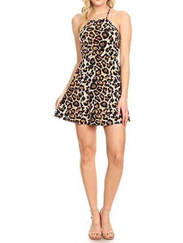Simply Savvy Co USA Flared Skirt Leopard Cheetah Animal Print Gown Dresses Women (M, Brown)