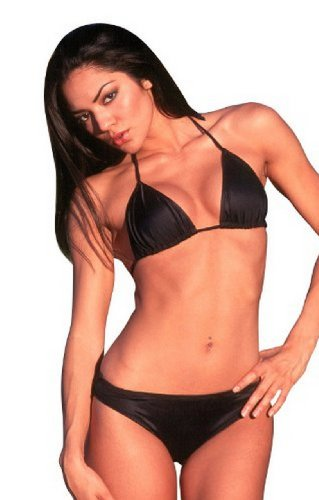 UjENA Barcelona Thong Sexy Bikini Swimsuit Swimwear Bottom Only- Matte Black ()