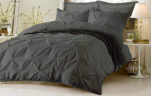 Kotton Culture Pinch Pleated Duvet Cover Set 3 Piece with Zipper & Corner Ties 100% Egyptian Cotton 600 Thread Count Hypoallergenic (1 Duvet Cover 2 Pillow Shams) (Queen/Full, Grey)