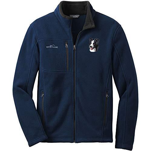 - Cherrybrook Dog Breed Embroidered Mens Eddie Bauer Fleece Jacket - Large - River Blue - Border Collie