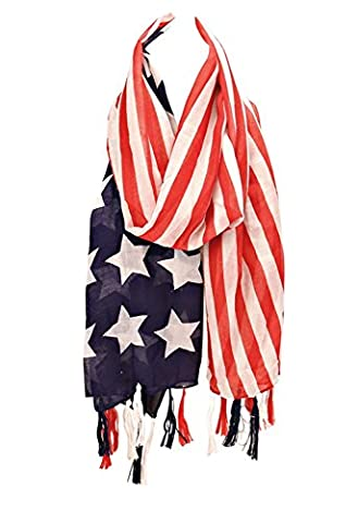 Rosemarie Collections Women's Beautiful American Flag Tassel Fashion Scarf - Neiman Marcus Suits