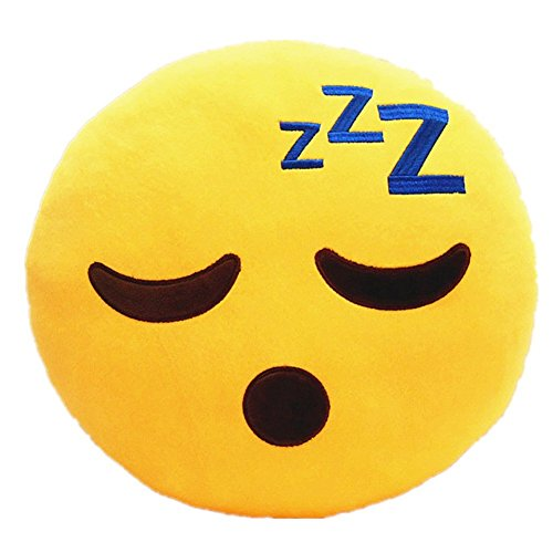 Emoji Sleeping Yellow Round Pillow