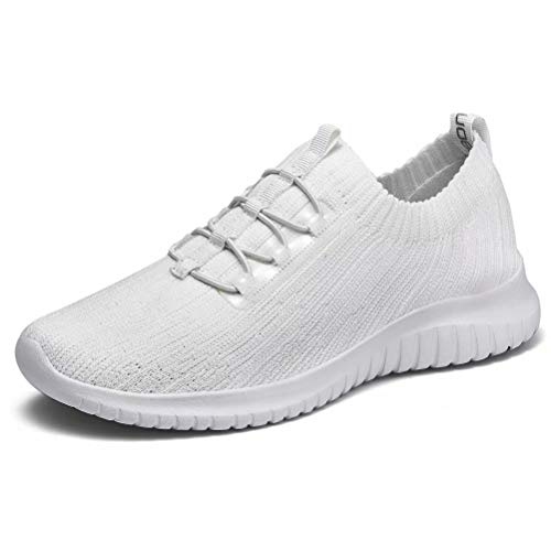 konhill Women's Comfortable Walking Shoes - Tennis Athletic Casual Slip on Sneakers 9 US All White,40