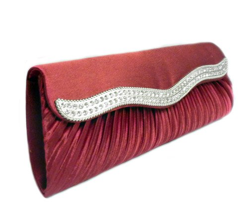 TdZ Wave Crystal Party Clutch 10-inch with Strap (Red Wine), Bags Central