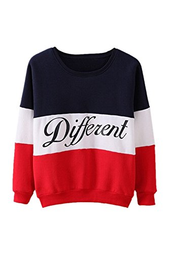 SODIAL (R)Lettres imprimes differents Mix pull Lache Casual pull femmes Bleu + rouge XL