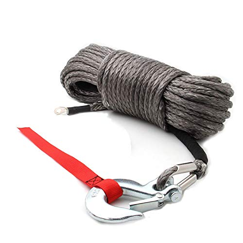 AC-DK Synthetic Winch Rope with Hook Dark Gray Color Size 3/8