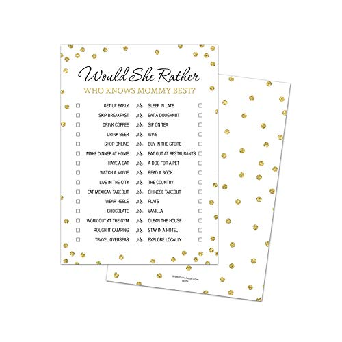 Would She Rather - Who Knows Mommy Best - Baby Shower Game - 24 count (Faux Gold Glitter on White) -