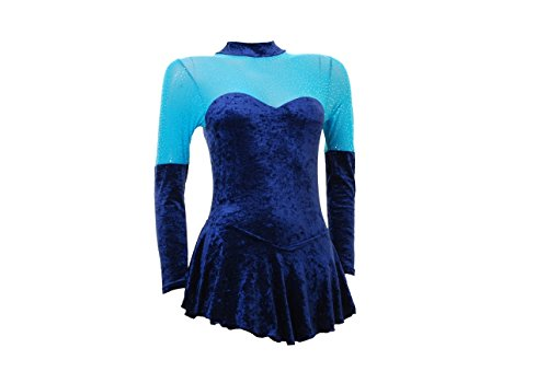 Wholesale Dance Long Sleeve Ice/Skating/Majorette Dress Navy Crushed Velvet With an Upper Section Of Turquoise Mesh With a Silver Foil (#S096b) Multicoloured