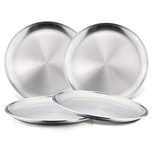 18/8 Stainless Steel Plates, HaWare Metal 304 Dinner Dishes for Kids Toddlers, 8 Inch Feeding Serving Plates, Eco Friendly, BPA-Free and Dishwasher Safe -4 Pack