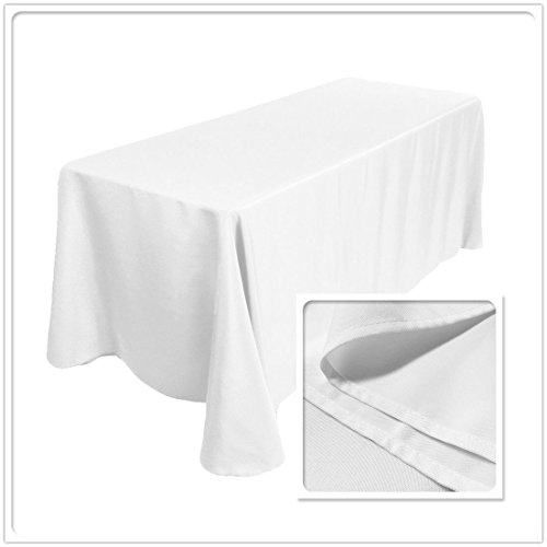 """TRLYC 90x132"""" Rectangular Polyester Tablecloth 100% Polyester 6FT Wedding Table Linen"""