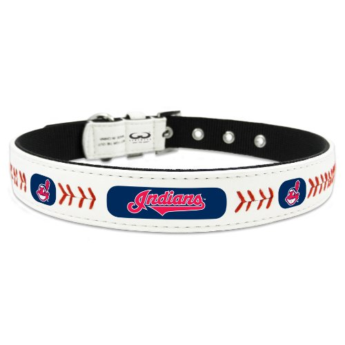 MLB Cleveland Indians Classic Leather Baseball Dog Collar (Small)