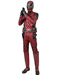 Dead Cosplay Pool Wade Costume Jumpsuit PU Outfit with Helmet Belt Boots Adult Size L