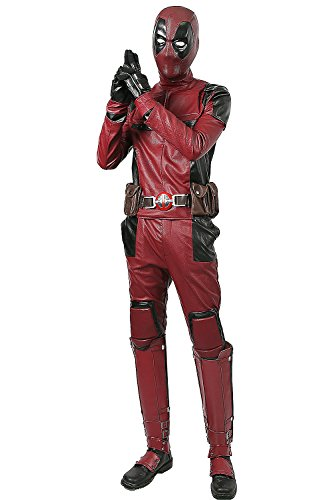 Deadpool Costume Colors (Dead Cosplay Pool Wade Costume Jumpsuit PU Outfit with Helmet Belt Adult Size L)