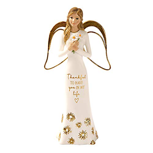 Pavilion Gift Company 5.5 Inch Resin Angel Figurine Thankful to Have You in My Life, Gold (Thankful For My Best Friend)