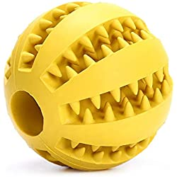 shine-hearty 5cm Pet Dog Toys Extra-Tough Rubber Ball Toy Funny Interactive Elasticity Ball Dog Chew Toys for Dog Tooth Clean Ball,Yellow,5cm