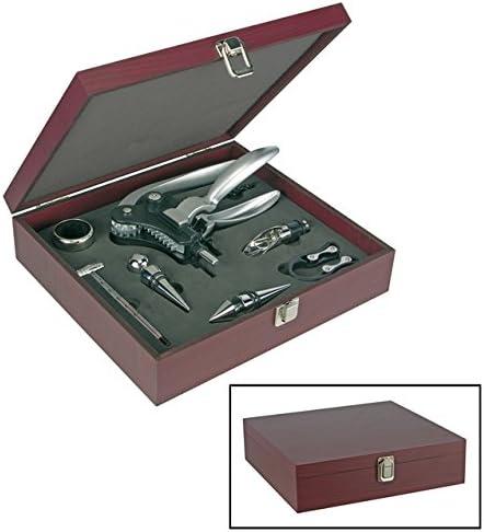 Compra 10 tlg. Juego de accesorios de vino-Set de regalo vino abridor de botellas de vino-accesorios de camarero de cuchillo de sacacorchos en caja de madera en Amazon.es