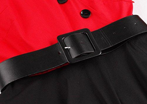 Aecibzo Femmes Taille Plus Robe Vintage Demi-patineur Manches Partie Pinup Robe Rouge Balançoire