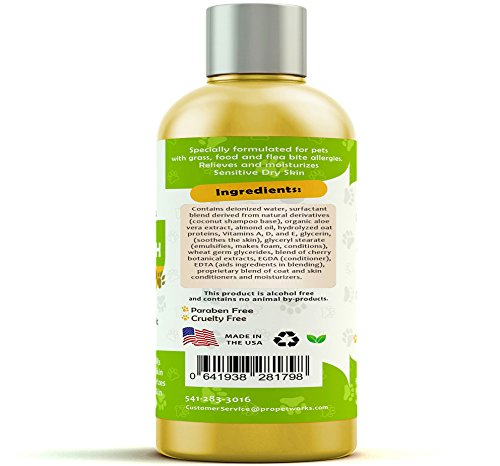 Pro Pet Works Natural Oatmeal Dog Shampoo + Conditioner for Dogs and Cats-Hypoallergenic and Soap Free with Natural Oils and Aloe for Allergies & Sensitive Skin-Organic Blend 17oz by Pro Pet Works (Image #2)