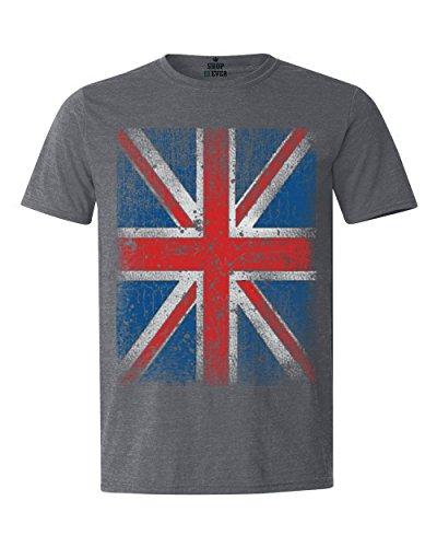 Shop4Ever Union Jack T-shirt British Flag Shirts XX-LargeDark Heather13315 Hanukkah Royalty Tee