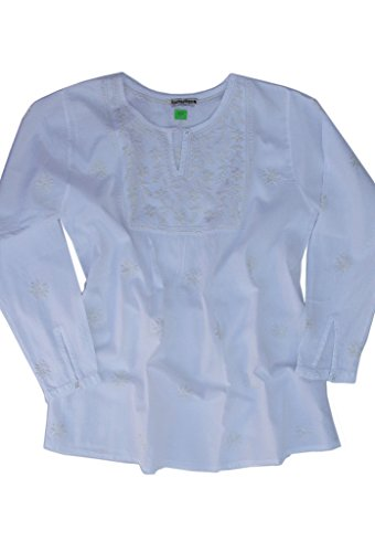 Ayurvastram Lisa Pure Cotton Hand Embroidered Boho Tunic Top Blouse: White L