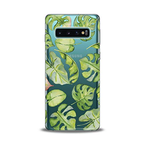(Lex Altern Samsung Galaxy TPU Case s10 Plus A6s s9 Plus A8 s8 A9 Note Tropical Clear Leaves Watercolor Phone Cover Monstera Print Leaf Green Protective Girl Transparent Flex Women)