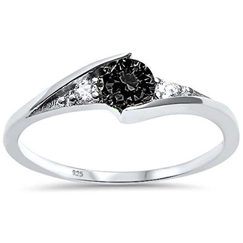 Sterling Silver Round Onyx - Oxford Diamond Co Sterling Silver New Round Simulated Black Onyx Solitaire Fashion Ring Sizes 7