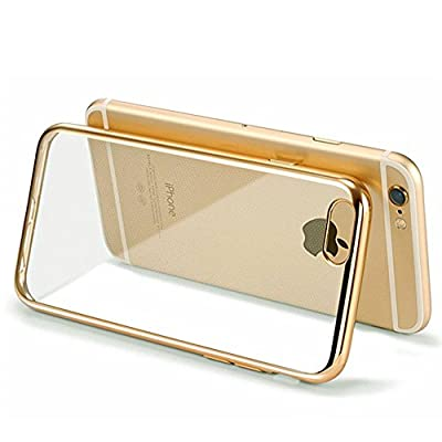Iphone 6s Case - HD Clear Screen Protector Included - Shock-Absorption Clear TPU Bumper Case Slim Fit Soft Cover Shell, for iPhone 6/6s 4.7 Inch (Gold)