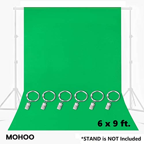 MOHOO 6x9FT Green Screen Backdrop, Green Muslin Backdrop with 6 Ring Metal...