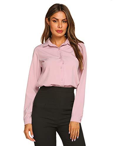 - Zeagoo Women's Button Down Shirts Long Sleeve Polka Dot Blouse Top Pink