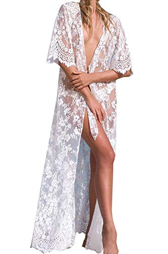 Wander Agio Womens Bikini Cover Ups Beach Coverup Swimsuits Sunscreen Long Covers Butterfly Snow White Butterfly Lace Long Dress