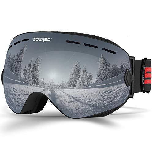 Soared Ski Snowboard Goggles Winter Snow Glasses Double-Layer Spherical Lenses UV400 Anti-Fog OTG Eyewear for Men Women Grey (For Ski Google)