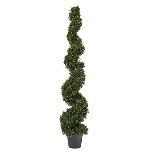 Pure Garden Faux Boxwood- Realistic and Lifelike Plastic 5 Foot Spiral Topiary Arrangement and Weighted Pot for Indoor or Outdoor Home or Office