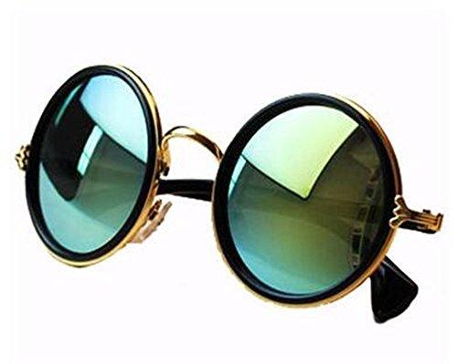 NYKKOLA Unisex's Round Mirror Polycarbonate Sunglasses - Round For Women Sunglasses