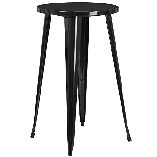 Flash Furniture 24'' Round Black Metal Indoor-Outdoor Bar Height Table (Sale Tavern Tables For)