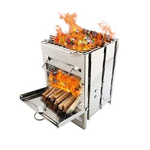 Camping Geïntegreerde Vouwen Hout Grillkachel Draagbare Kleine Rvs BBQ Houtskool Kachel Barbecue voor Koken Outdoor…
