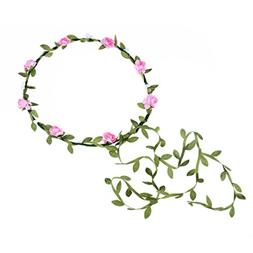 HTYhuahuan Wreath Flower Crown Wedding Garland With Tail Forehead Hair Head Band Accessories