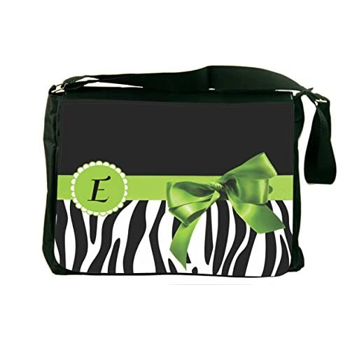 "Rikki Knight Letter "" E "" Green Zebra Bow Monogram Design, Messenger School Bag (mbcp-cond41601)"