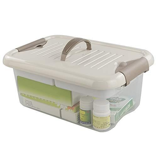 (Jekiyo Durable Divided Storage Tote Box with Lid, Latching Handles, Khaki )