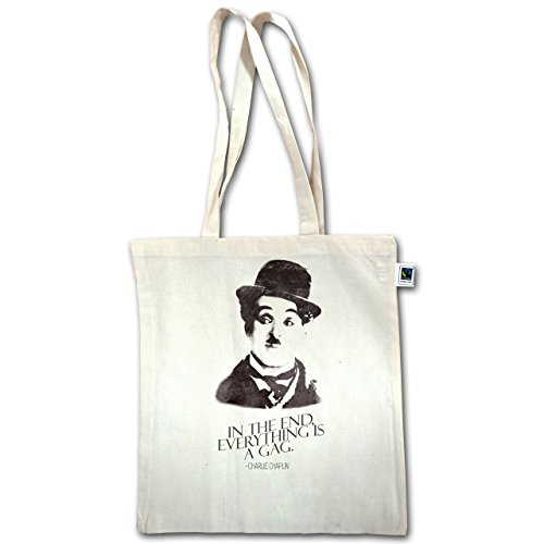 Vintage - Charlie Chaplin - Alla Fine, Tutto È Un Bavaglio - Unisize - Natural - Xt600 - Jutebeutel Lange Henkel