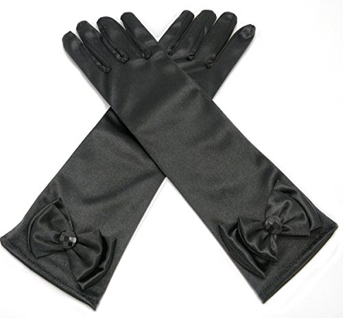 ALEAD Girls Long Satin Princess Dress Up Diamonds Bows Gloves for Kids (Black) (Little Girl Black Satin Gloves)