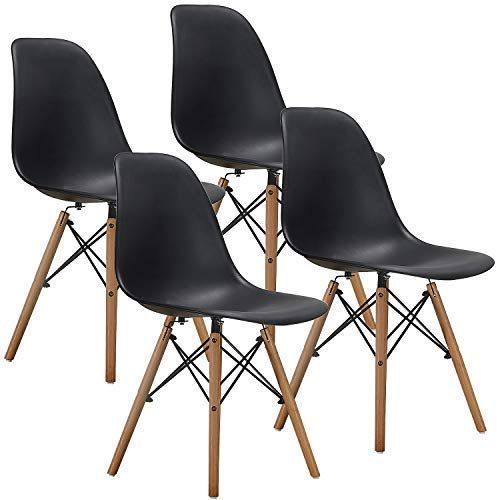 VECELO Mid Century Modern Style Dining Chair Side Chairs with Natural Wood Legs (Set of 4),Easy Assemble for Kitchen Dining Room,Living Room,Bedroom(Black)