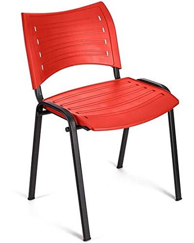 Silla PVC autoescuelas 4x Silla confidente para oficina Rojo academias Apilables Disponibles en varios colores ideal para oficinas